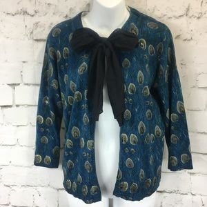 Sweaters - COLOUR WORKS Peacock Cardigan Pussy Bow Sweater